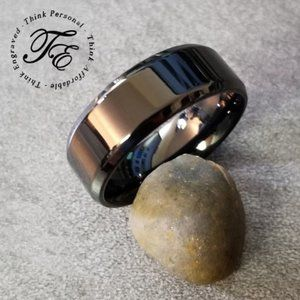 Black promise ring or wedding band beveled edges